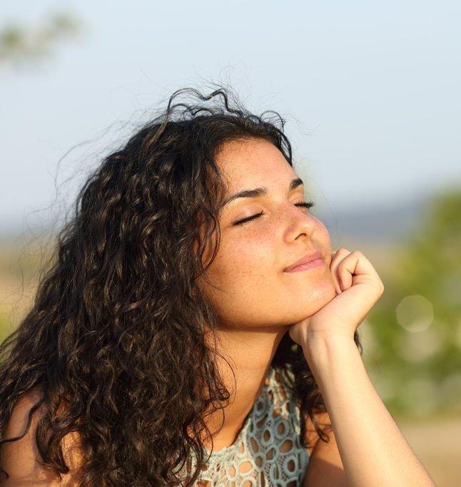 woman restful meditation